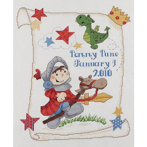 Bucilla 418778 Brave Knight Birth Record Counted Cross Stitch Kit-10. 5 inch x 13 inch 14 Count