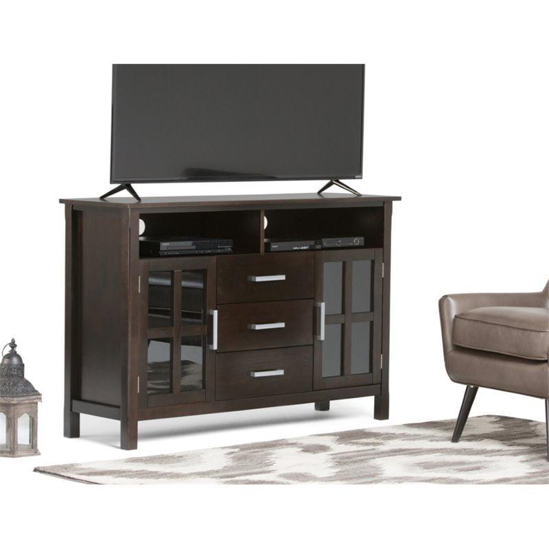 "Atlin Designs 53"" Tall TV Stand in Dark Walnut Brown"