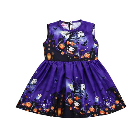 Toddler Baby Girl Halloween Fashion Cartoon Graffiti Sleeveless Vest Dress Cute Costume - Baby Girl Halloween Costumes Walmart