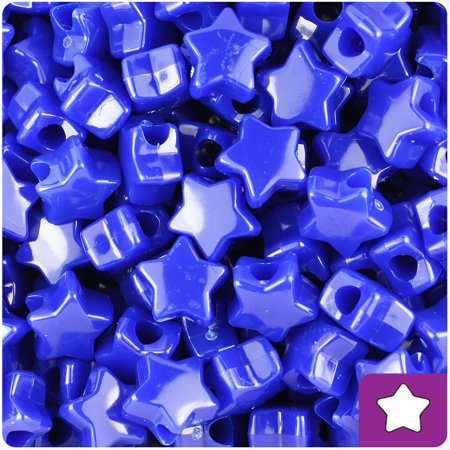 BeadTin Royal Blue Opaque 13mm Star Pony Beads (250pcs)](Plastic Star Beads)
