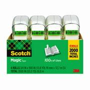 Scotch Magic Tape 4 Pack, 3/4 in. x 500 in., 4 Rolls