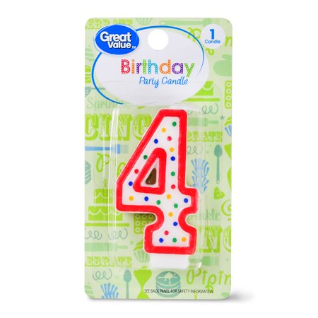 Great Value Birthday Party Candle, Number 4
