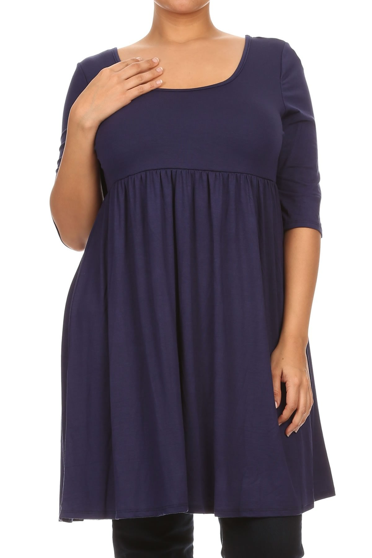 Women Plus Size Half Sleeve Solid Babydoll Casual Tunic Top Dress Navy XL (D240 SD)