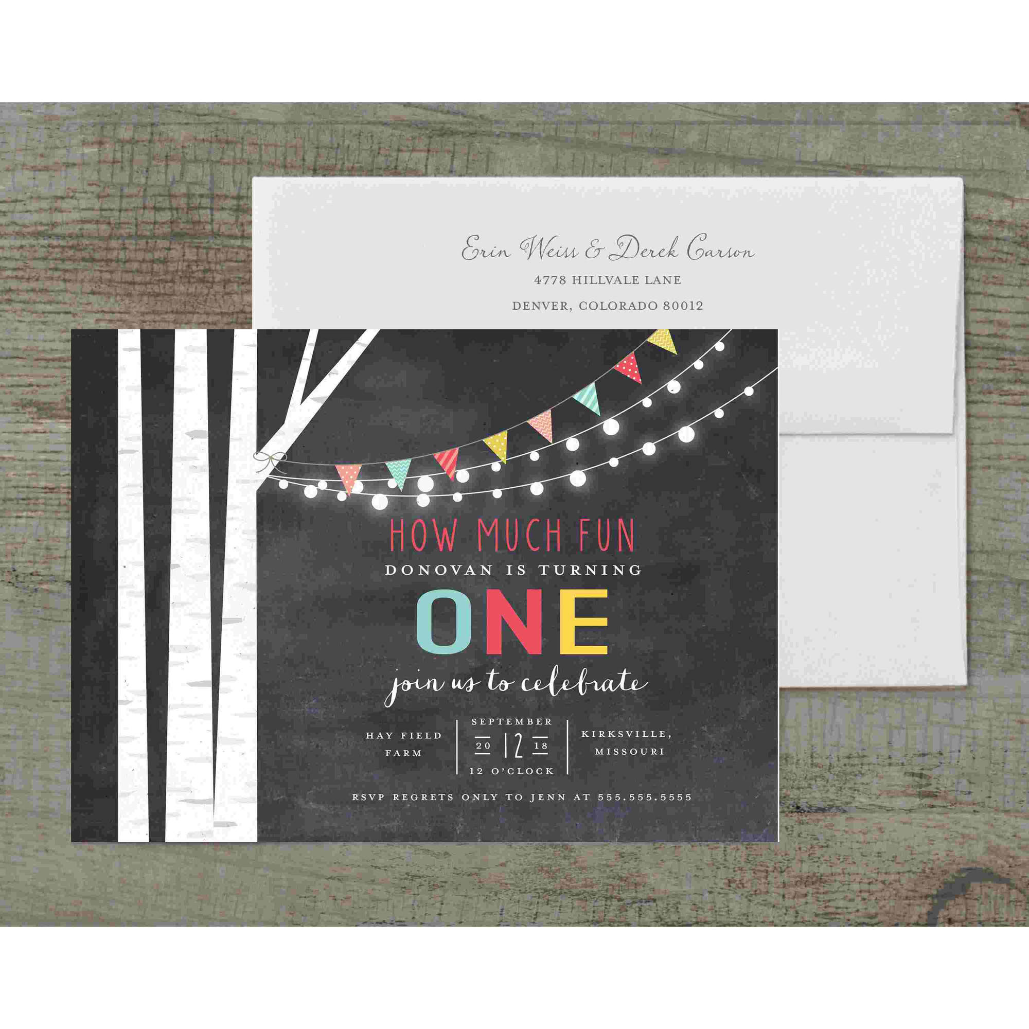Birch Tree and Lights Deluxe Birthday Invites