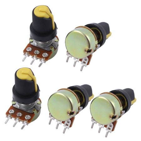 5Pcs B250K 250K Ohm 3 Terminals Rotary Audio B Type Potentiometer - 250k Potentiometer