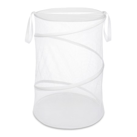 """Whitmor 18"""" Collapsible Laundry Hamper with Handles - White - 18"""" x 26"""""""