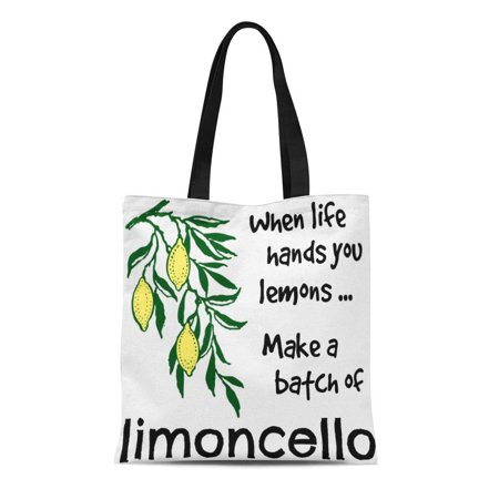 ASHLEIGH Canvas Tote Bag Lemon Make Batch of Limoncello Italy Liqueur Recipe Sorrento Reusable Handbag Shoulder Grocery Shopping (Best Lemons For Limoncello)
