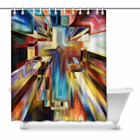 MKHERT Abstract Angles of The Cross Series in Tie Dye Pattern House Decor Shower Curtain for Bathroom Decorative Fabric Bath Curtain Set 66x72 inch Cross Pattern Tie