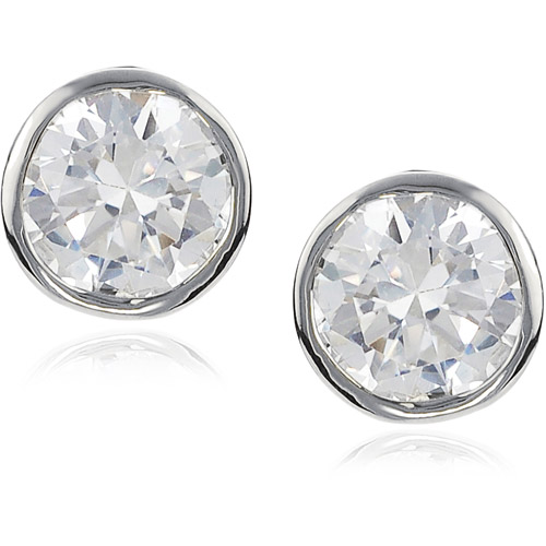 Brinley Co. Women's Sterling Silver Silver-Tone CZ Bezel-Set Round-Cut Stud Earrings