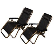 Set of 2: Zero-Gravity Canopy Lawn & Patio Chair with Head Rest Brown