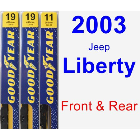 2003 Jeep Liberty Wiper Blade Set/Kit (Front & Rear) (3 Blades) - (Best Wiper Blades For Jeep Wrangler Jk)