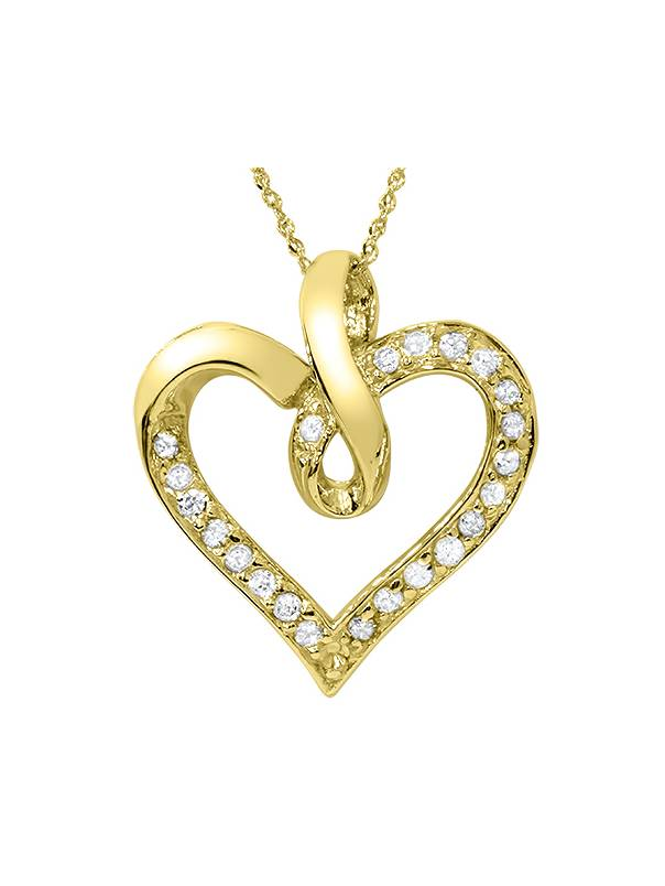 14K Yellow Gold 1 4ct Diamond Heart Pendant by Pompeii3