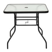 """Topbuy 32"""" Square Tempered Glass Table Steel Frame Outdoor Table for Yard Garden"""
