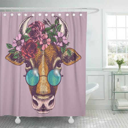 PKNMT Cow Portrait with Floral Wreath and Round Sunglasses Animal for Your Design Bathroom Shower Curtains 60x72 inch](Halloween Wreath Designs)