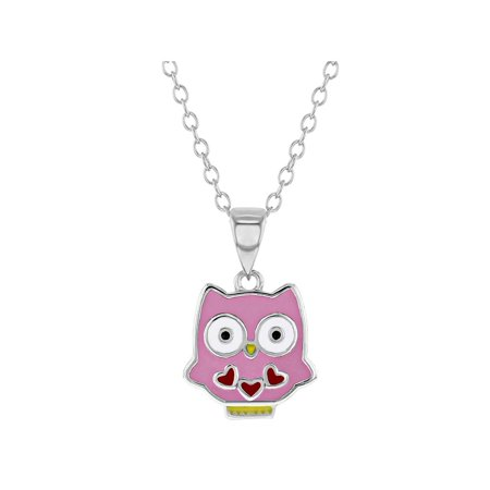 925 Sterling Silver Pink Enamel Owl Necklace Pendant for Girls 16""