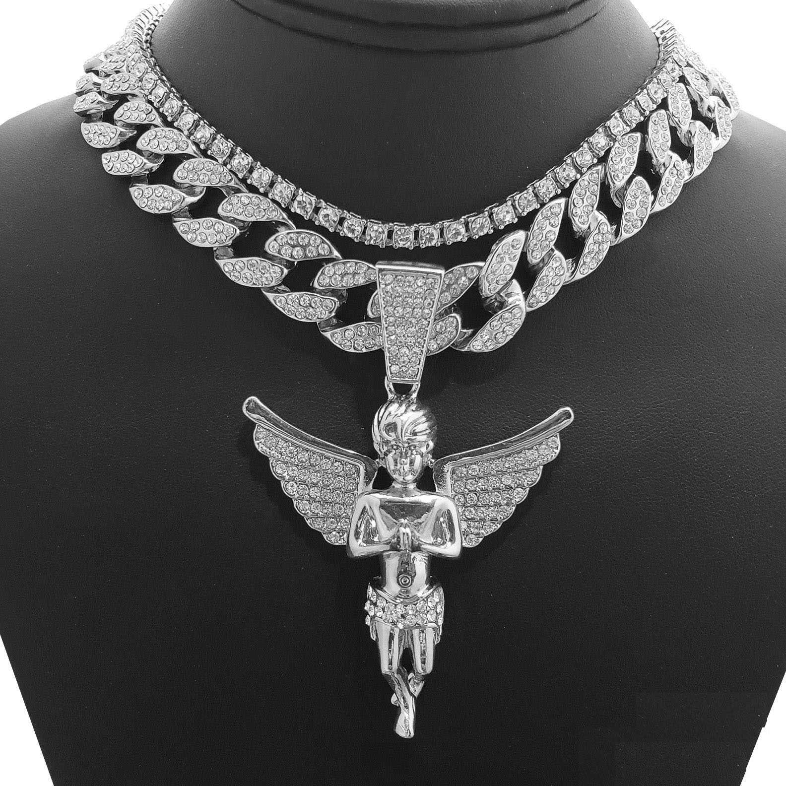 "Hip Hop Bling White Gold Tone Plated Baby Angel w/ 18"" Full Iced Cuban & 1 ROW DIAMOND Choker Chain Set"
