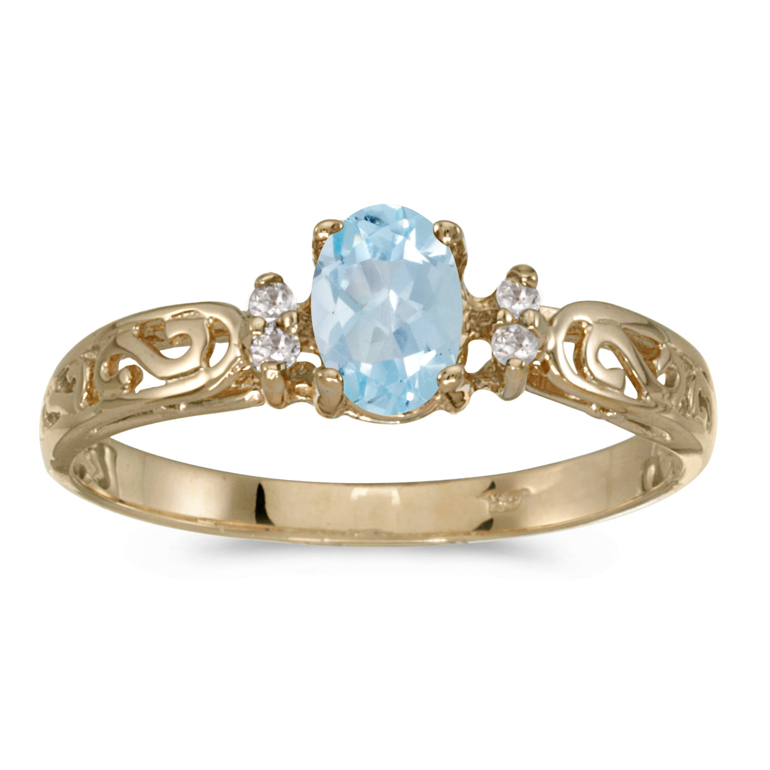 14k Yellow Gold Oval Aquamarine And Diamond Filagree Ring by