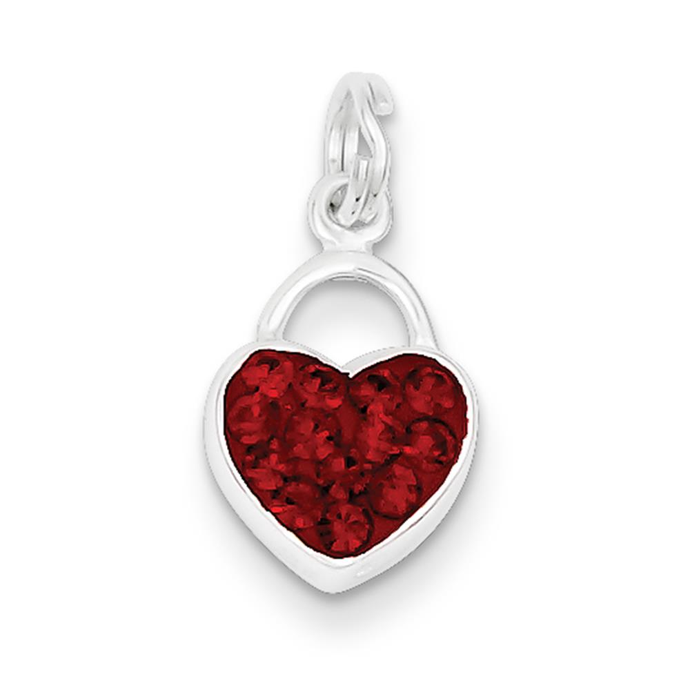 925 Sterling Silver Preciosa Crystal Polished Heart Charm Pendant 18mmx10mm