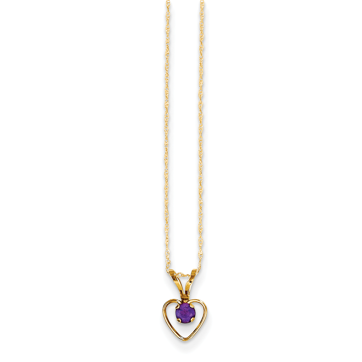 14K Yellow Gold Madi K 3mm Amethyst Heart Birthstone Necklace 15 Inch - image 1 of 1
