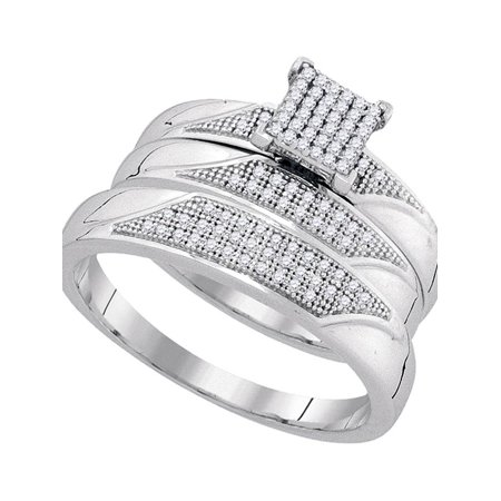 10kt White Gold His & Hers Round Diamond Cluster Matching Bridal Wedding Ring Band Set 1/4 Cttw - image 1 de 1
