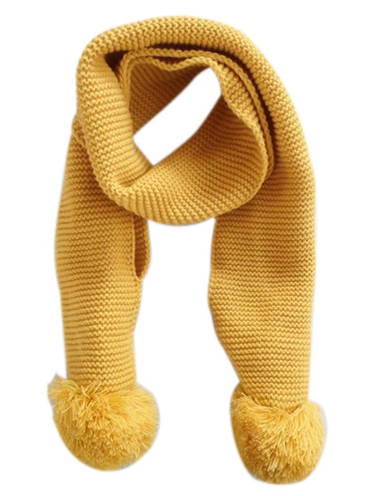 Baby Kids Winter Solid Color Double Ball Warm Knitting Wool Scarf YE