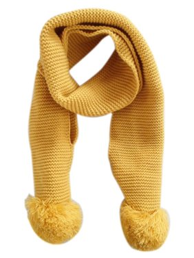 Baby Kids Winter Solid Color Double Ball Warm Knitting Wool Scarf BU