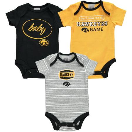 Iowa Hawkeye Baby Clothes - Newborn & Infant Russell Black Iowa Hawkeyes Three-Pack Bodysuit Set