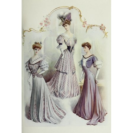 Latest Paris Fashions 1877 Robes de Soiree 1 Poster Print by Unknown - Soiree Halloween Paris