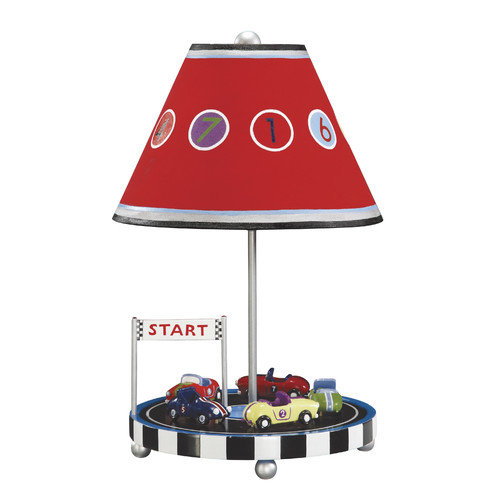 Guidecraft Retro Racers 18'' H Table Lamp with Empire Shade