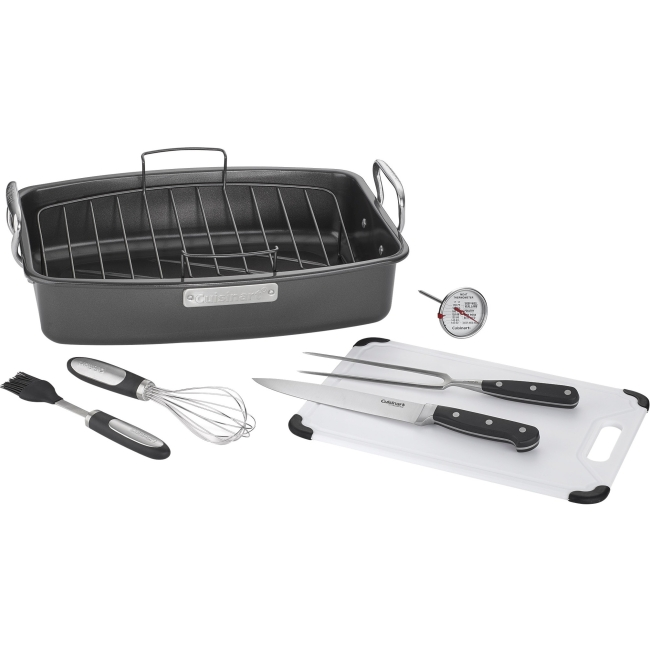 "Cuisinart 8-piece Ovenware Nonstick Roasting Set 17"" Length 13"" Width Roaster Pan, Roasting Rack, Fork, Whisk, Basting Brush,... by Cuisinart"