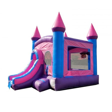 Pogo Pink Crossover Kids Jumper Inflatable Bounce House with Slide and Blower