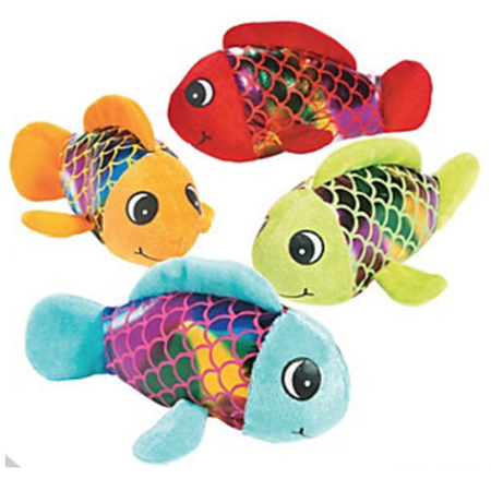 Plush Shiny Fish, Stuffed Animal Party Favors, 12 Count - Childrens Party Stuff