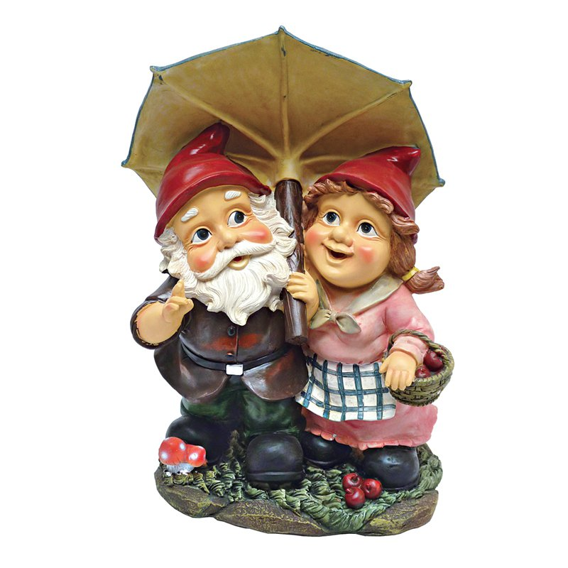 Design Toscano Rainy Day Gnomes Under an Umbrella Garden Statue by Garden Statues