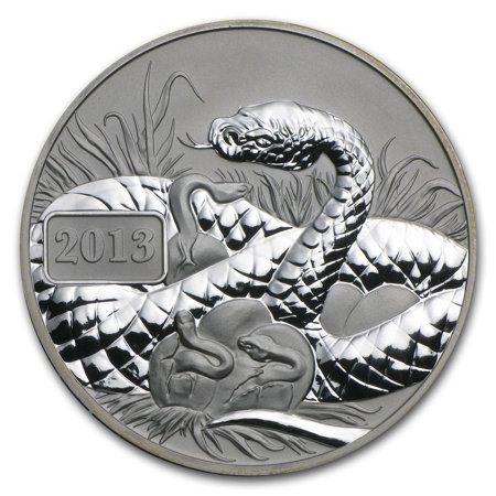 2013 Tokelau 1 oz Silver Reverse Proof Lunar Year of the (2013 Year Of The Snake Silver Proof Coins)