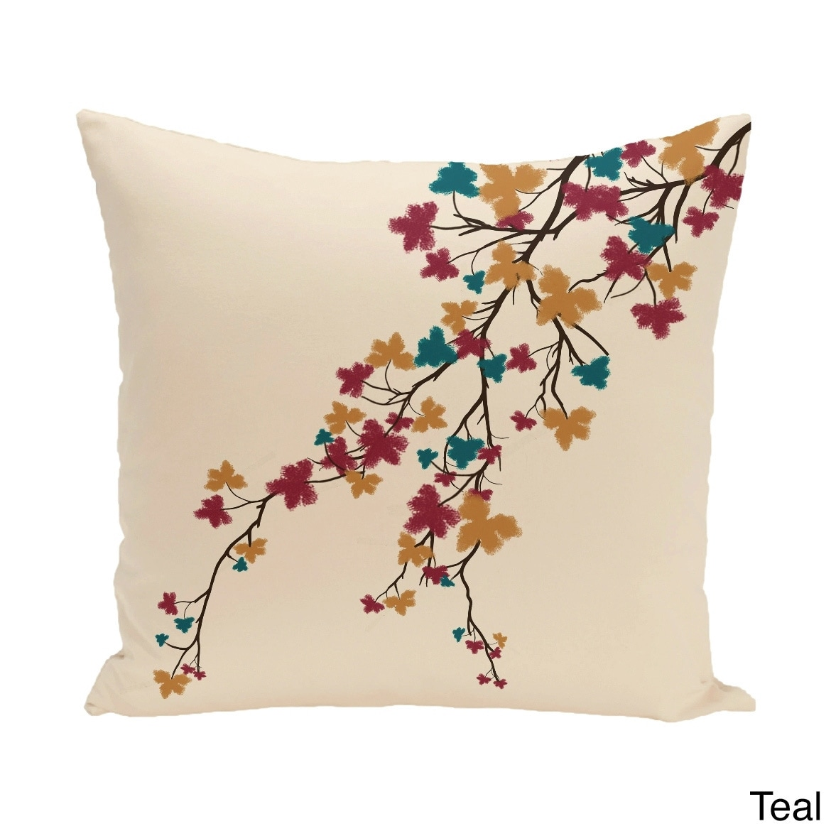 E by Design 18 x 18-inch Maple Hues Floral Print Pillow