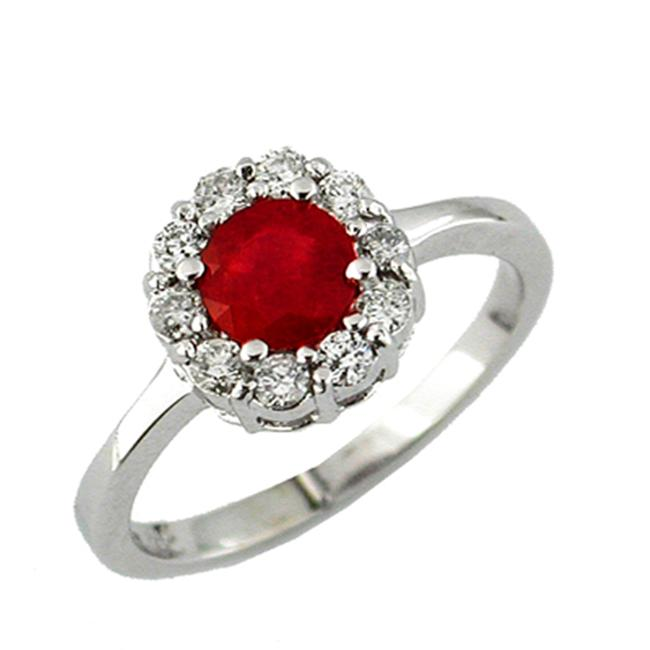 JewelryCastle 3-2275-GR-14KYG-6 14K Diamond and Ruby Ring - Size 6