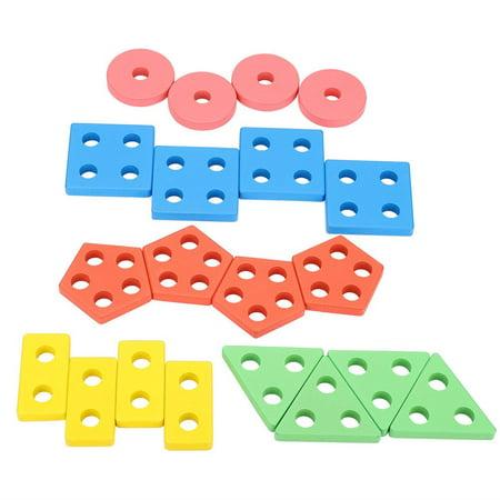 Domqga Wooden Toy, Baby Wooden Block, Colorful Geometric Board Kids Children Wooden Block Preschool Educational Toy Gift - image 6 of 8