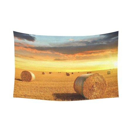 PHFZK Landscape Wall Art Home Decor, Farmland after Harvest Peaceful Terrain at Sunset Tapestry Wall Hanging 90 X 60 Inches