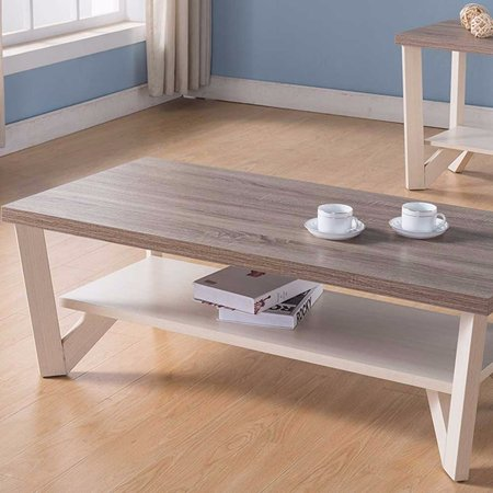 Stylish Center Display Coffee Table, Brown and White ()