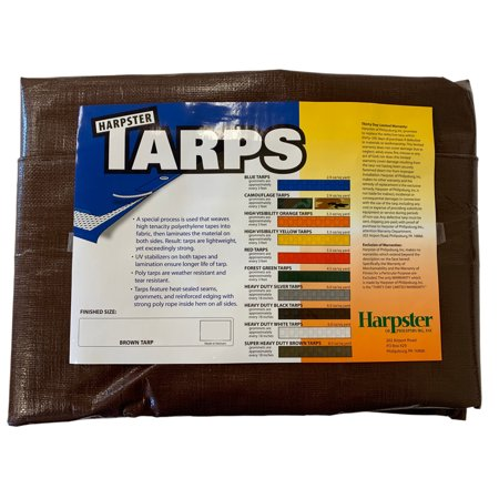 10 Ft. x 20 Ft. Super Heavy Duty Brown 8 Oz. Tarp - 16 Mil Thick
