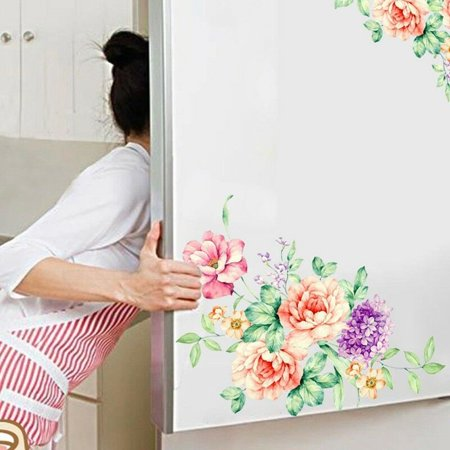 KABOER Beautiful Flower Pattern Wall Sticker Bathroom Fridge Art Decals Home Decor Nice (Beautiful Wall Pattern)