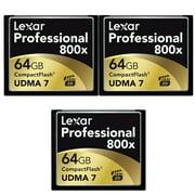 Lexar 64GB Professional 800x Compact Flash Memory Card (LCF64GCTBNA800) 3-Pack Bundle