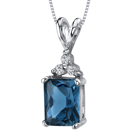 "Peora 2.50 Carat T.G.W. Radiant Cut London Blue Topaz 3 CZ Accent Rhodium over Sterling Silver Pendant, 18"""