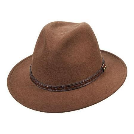 Dorfman Pacific - New Scala Classico Men s Crushable Felt Safari With  Leather Hat 6c960bd60de