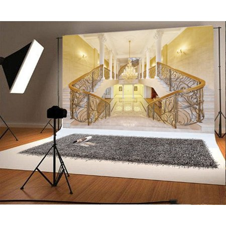 HelloDecor Polyster 7x5ft Castle Backdrop Luxurious Golden Palace Elegant Stair Droplight White Pillar Marble Floor Interior Wedding Photography Background Kids Adults Photo Studio Props - Castle Backdrop