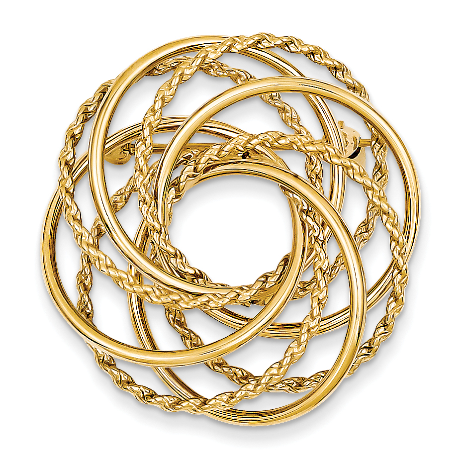 Roy Rose Jewelry 14K Yellow Gold Hollow Swirled Designer Pin