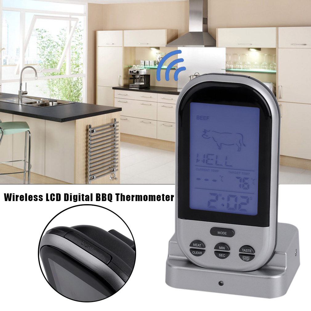 Wireless LCD Digital BBQ Thermometer Timer Temperature Alarm Cooking Tool