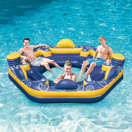 Corona 6-Person Giant Inflatable Island Raft with Built-In Coolers