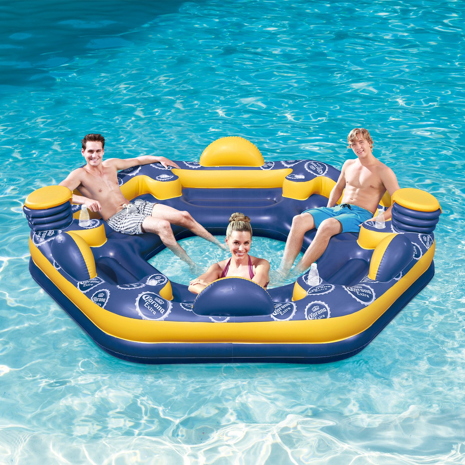 Corona 6 Person Giant Inflatable Island Raft With Built In Coolers U0026 Cup  Holders