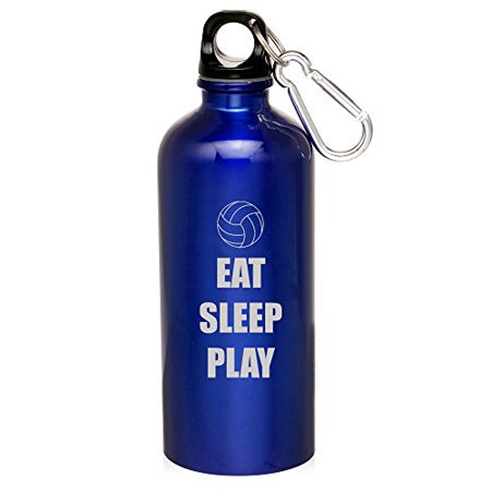 20oz Aluminum Sports Water Bottle Caribiner Clip Eat Sleep Play Volleyball (Blue)